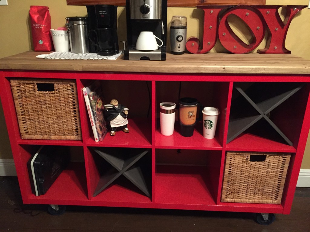 coffee bar Ikea bookshelf hack